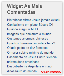 Widget as mais Comentadas