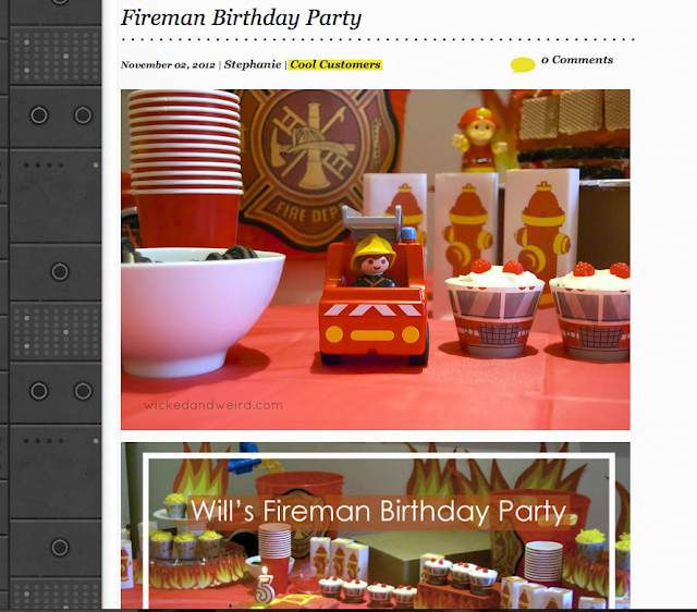 William's firsman birthday party was featured on a few of my favourite blogs around the web!