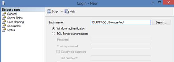 Habilitar site ASP.NET IIS para conectar a SQLExpress, figura 2
