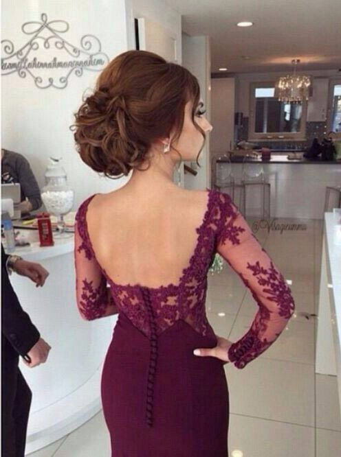 Elegant Prom Dress/Evening Dress - Burgundy Mermaid with Lace Long Sleeves