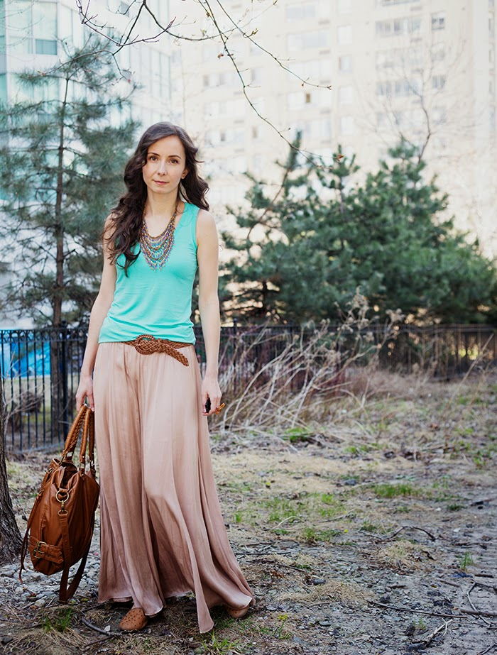 Silk-Maxi-Skirt-Jean-Jacket-Mint-Coral