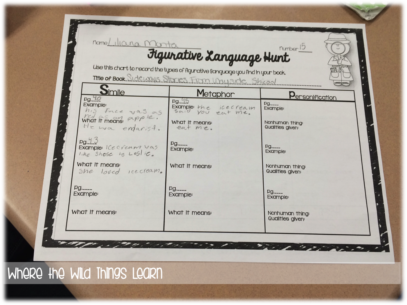 Figurative Language with Music Where the Wild Things Learn – Figurative Language Worksheets for Middle School