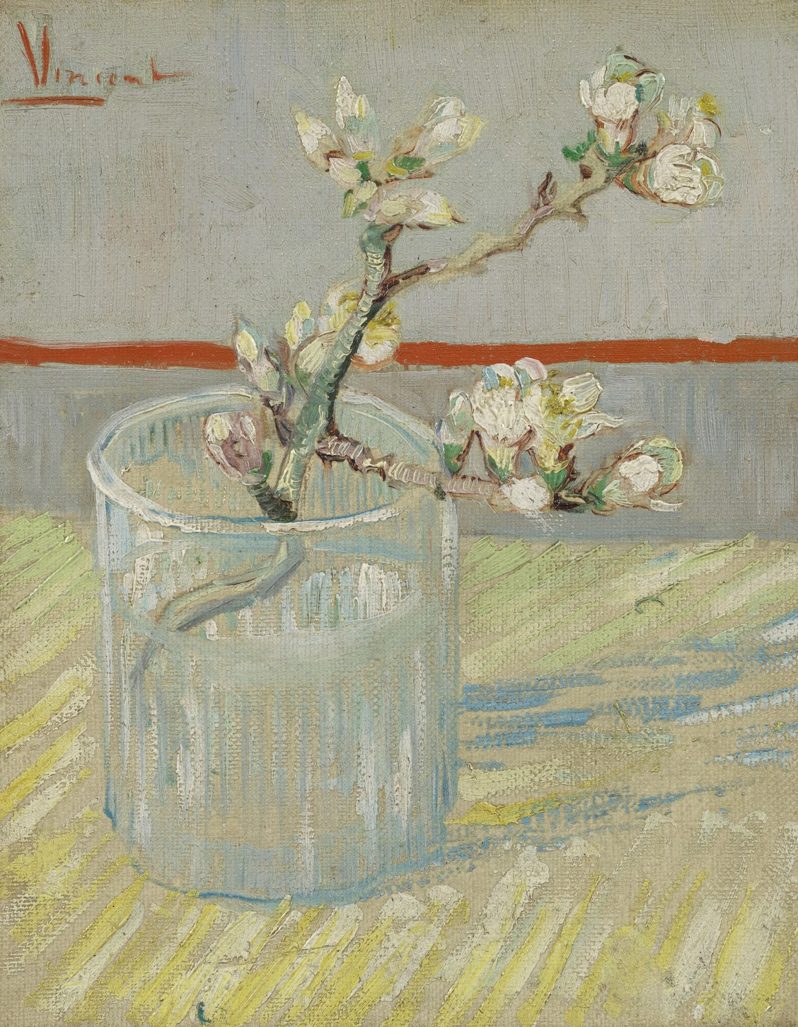 """FLOWERING ALMOND TWIG IN A GLASS"""