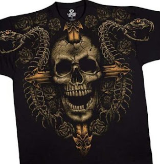 Cross and Skull T-Shirt, Death Ward Liquid Blue Full Shirt Designs