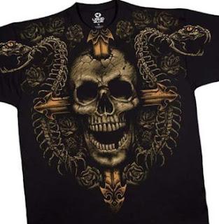 Cross and Skull T-Shirt, Death Ward Liquid Blue Full Shirt Designs