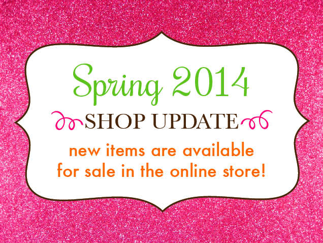 Graphic announcing our Spring Shop Update for shopinviting.com - new letterpress printed items are available for sale.