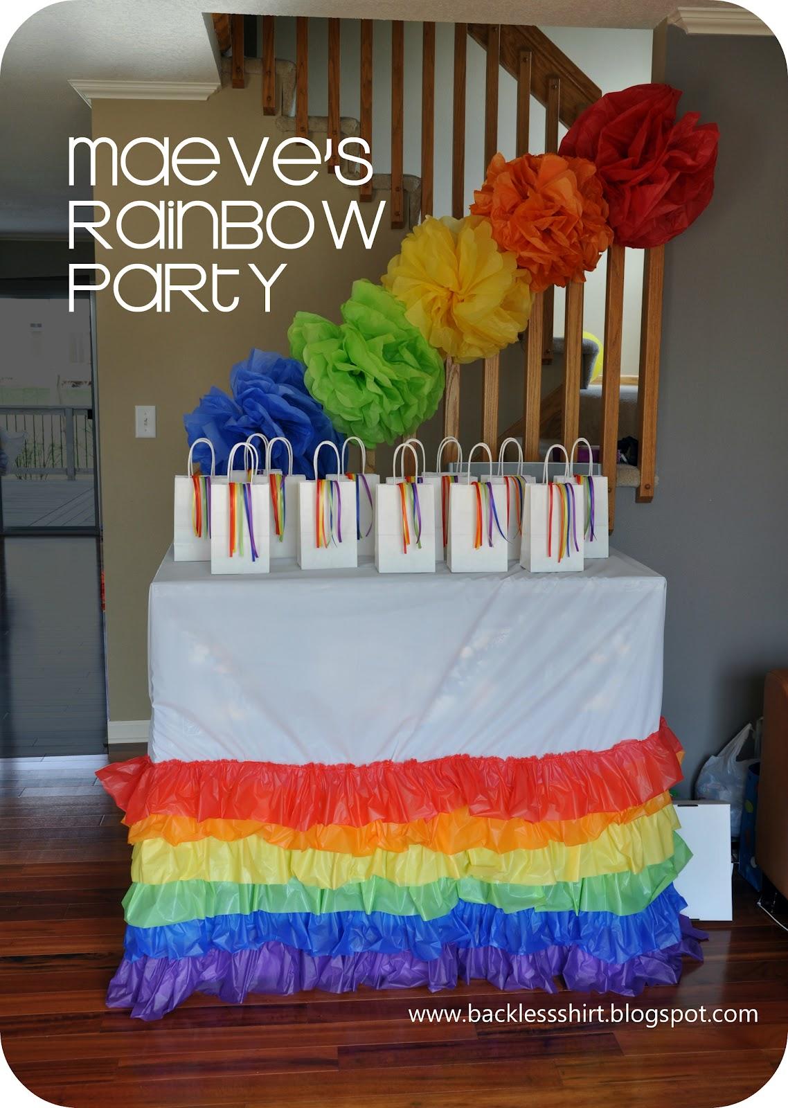 Backless Shirt: Maeve\'s Rainbow Birthday Party