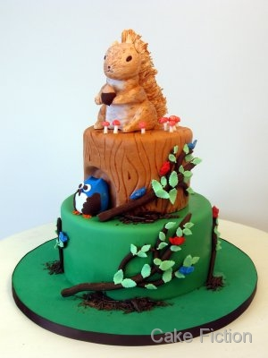 Cake Fiction Squirrel and Owl Birthday Cake and Cookies