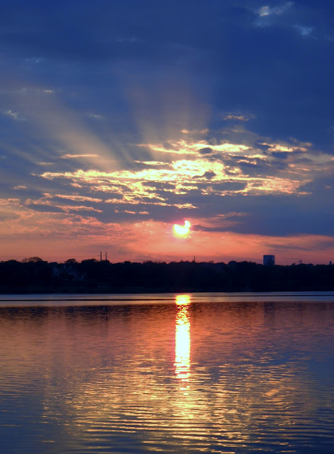 The setting sun reflecting in White Rock Lake, Dallas