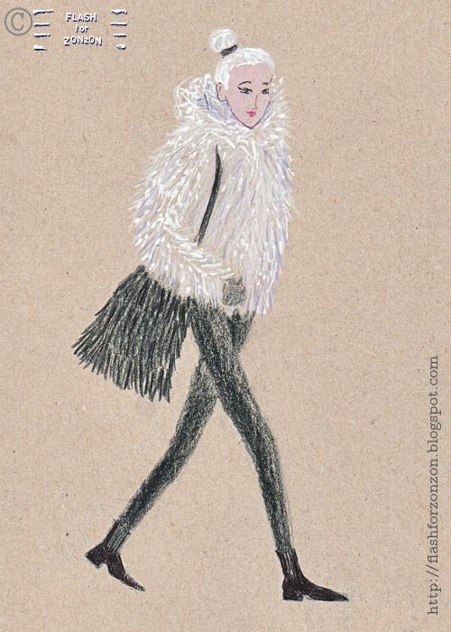 Street Style. White Faux Fur Coat,  Helsinki.