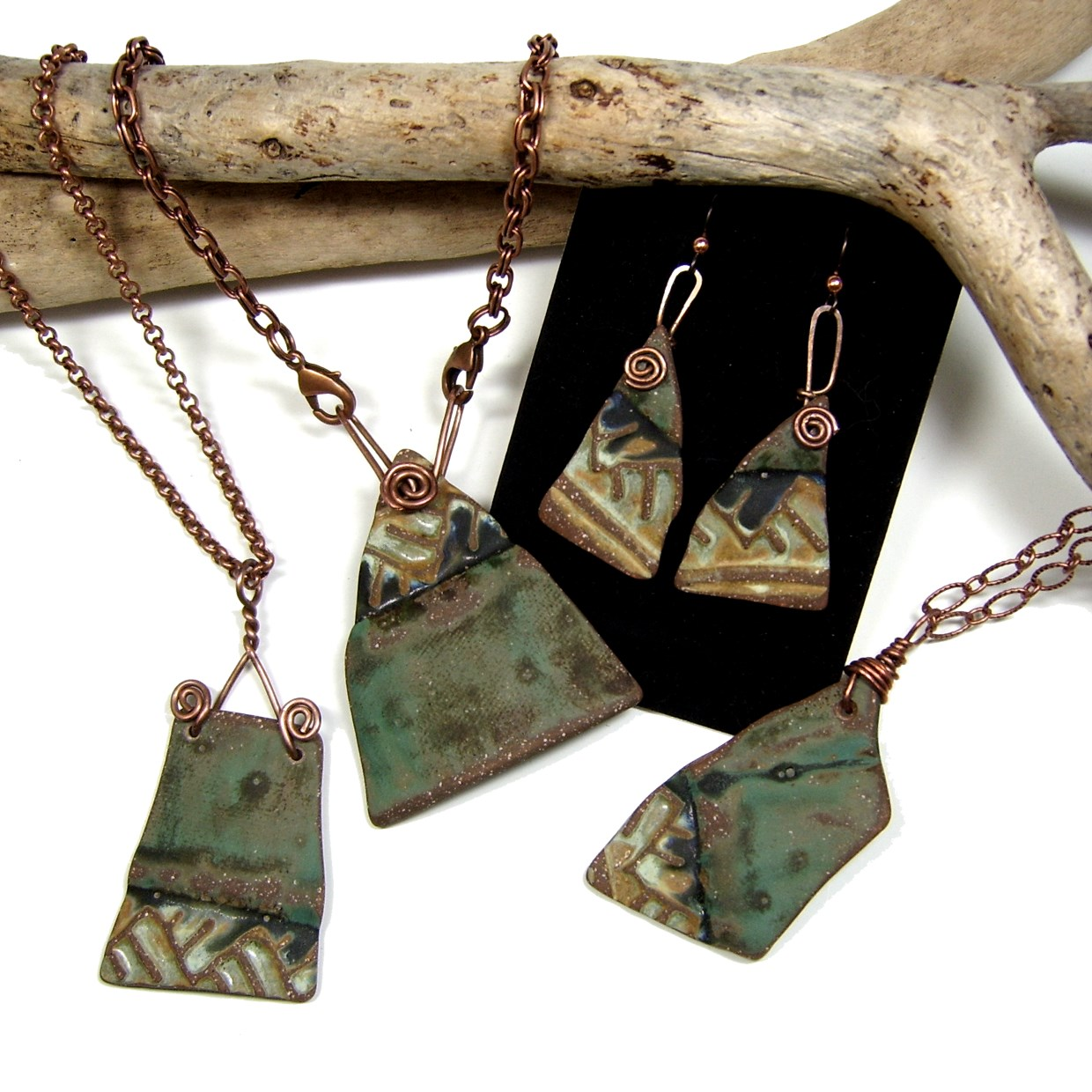 Pottery Shard Pendants & Earrings