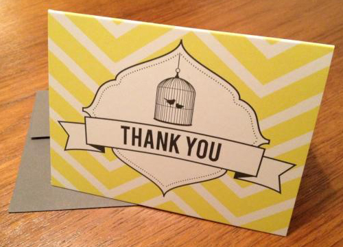 Danielle wojtyniak yellow and white thank you cards with birdcage and birds in design