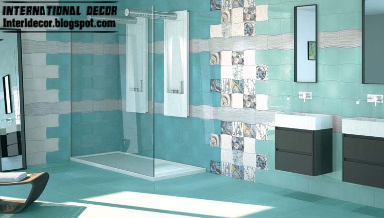 Contemporary turquoise bathroom tile designs ideas for Modern bathroom wall tile designs