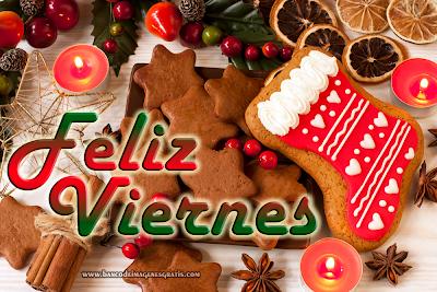 Feliz Viernes postal navideña con mensaje