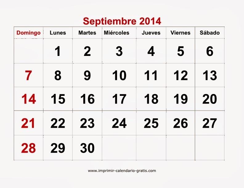 Calendario Septiembre 2014 para imprimir, Calendario 2014 para ...