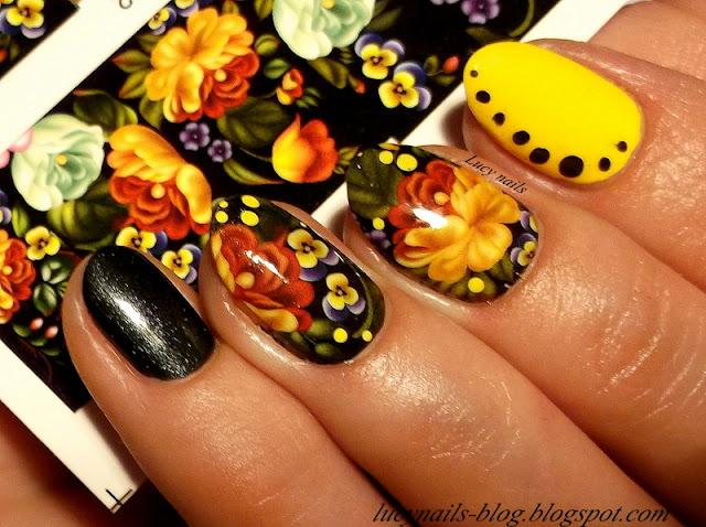 Naklejki wodne na całe paznokcie kwiaty