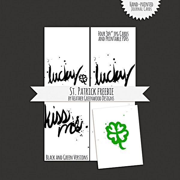 Heather Greenwood | St. Patrick's Day Journal Cards | Freebie | Printables