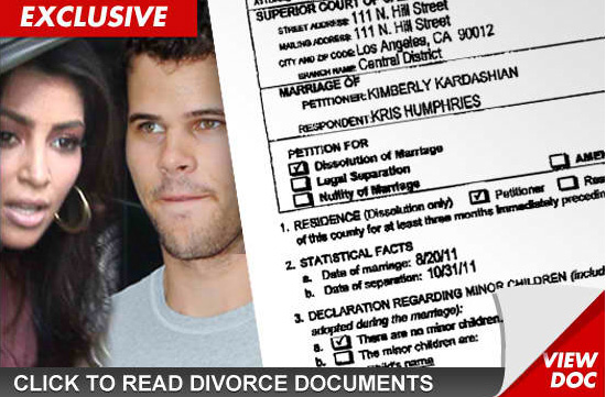 kim kardashian divorce papers Kim kardashian files for divorce after 72 days of marriage according to the report, humphries was unaware that she was filing papers until this morning click here to see the divorce papers from tmz.