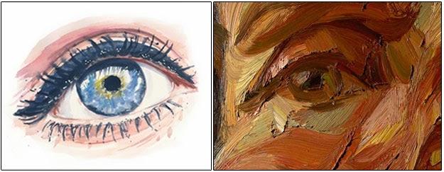 olhos de aquarela e tinta a óleo