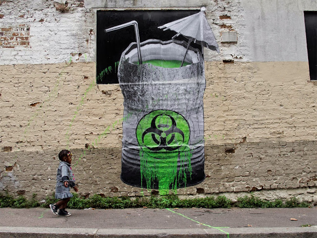 """Biohazard"" Street Art By French Artist Ludo On The Streets Of Paris, France. 1"