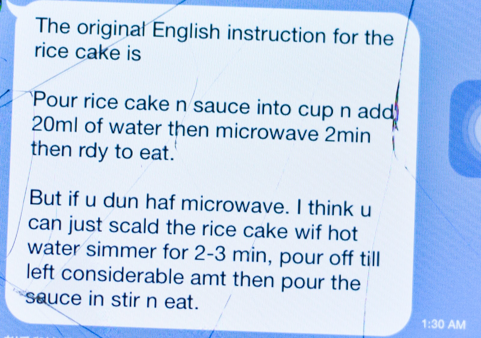 Thankfully, I Remember Alex's Friend Had Posted The English Instructions  For Us On The Line App And I Took Quite A While To Search For It!
