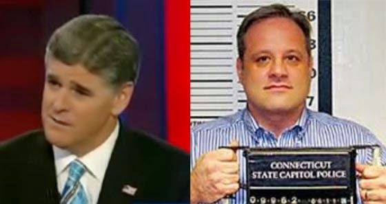 Sean Hannity (left)  hosts Fox New's highest rated show. He spends  much of his airtime telling whites it's okay to be racist. Early in his  career Hannity was close to notorious neo-Nazi Hal Turner (right).  (Left Photo - YouTube; Right Photo - CT State Capitol Police)