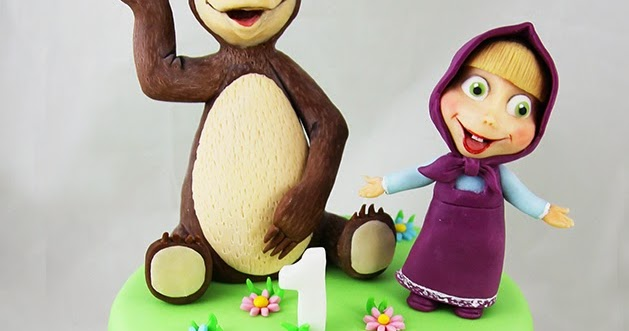 Torta in pasta di zucchero del cartone animato masha e