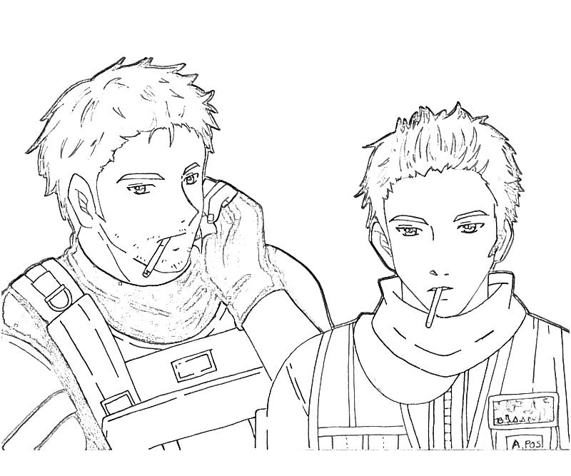 printable-resident-evil-piers-nivans-and-chris-redfield-coloring-pages