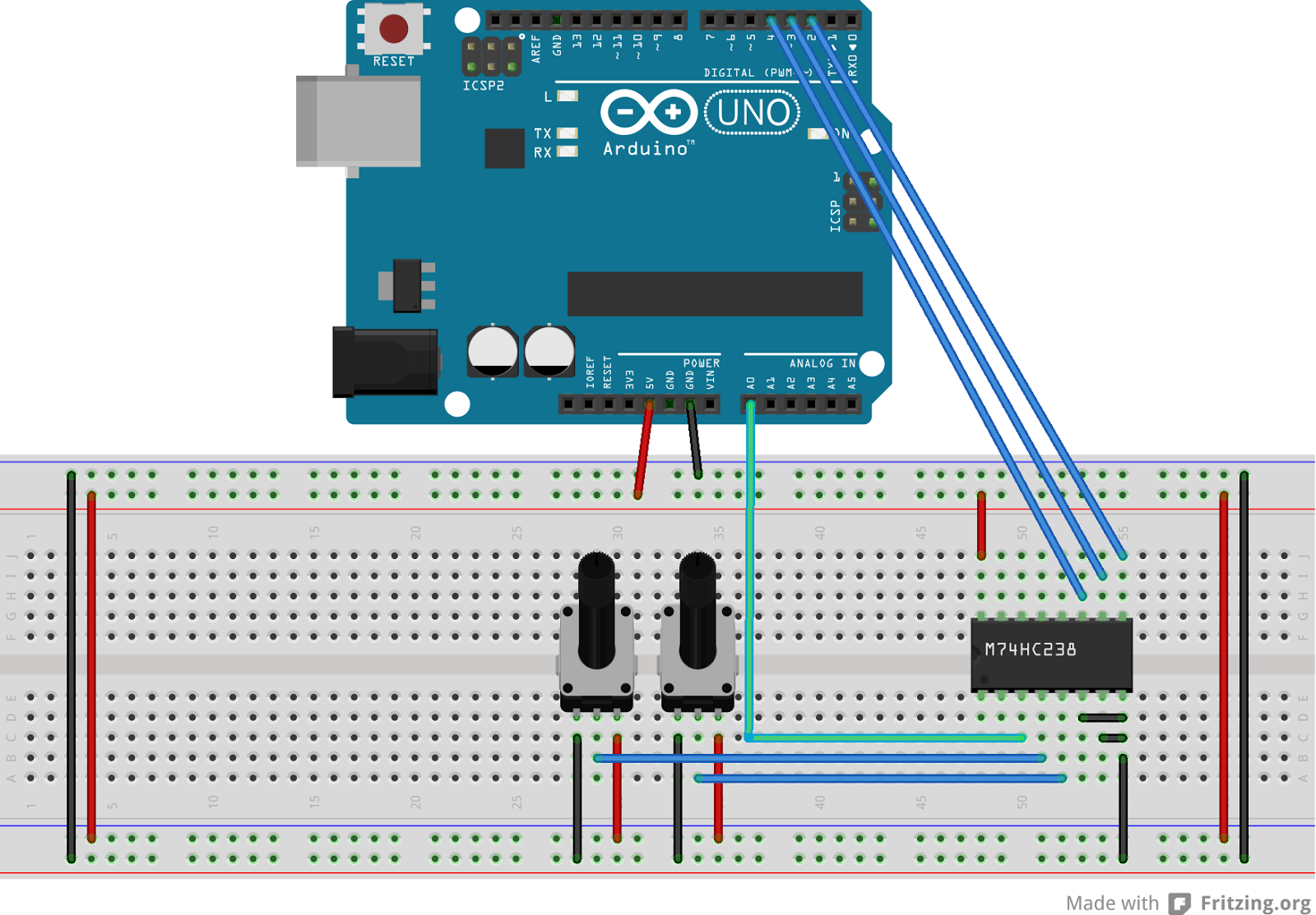 you see the analog output pins are connected to channel 5 and 7 y5 and y7 in the above schem these are then replaced by the single output from the mux - Arduino Beispiele