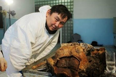 Ученый у туши мамонта. Фотография с сайта blogspot.com