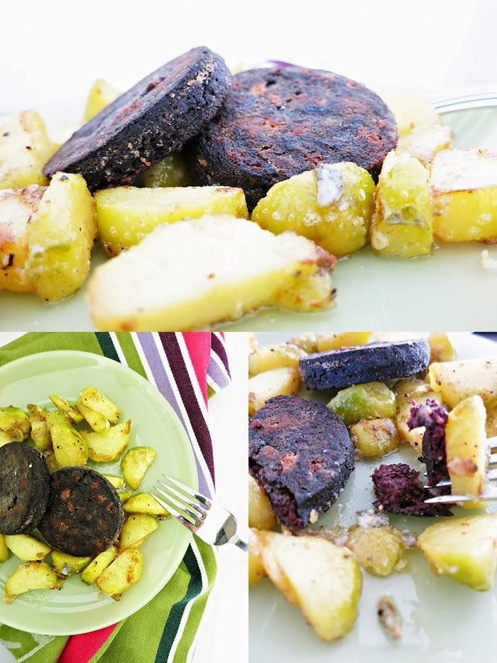 Gebratene Blunz'nscheiben mit Gorgonzola-Bratkartoffel