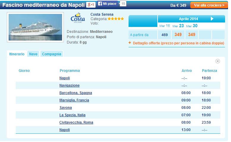 Crociera Fascino mediterraneo da Napoli