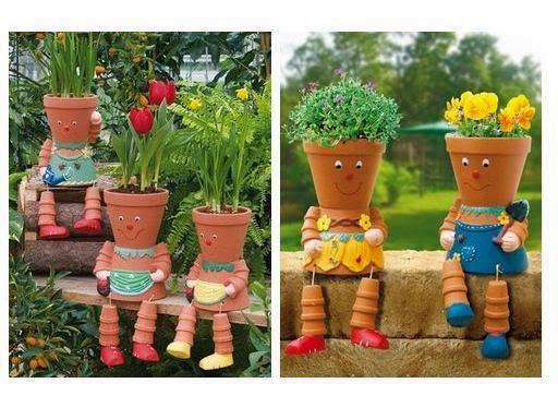 mon jardin fleuri des personnages avec des pots en terre cuite. Black Bedroom Furniture Sets. Home Design Ideas