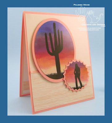 Front panel of my handmade Southwestern Sunrise Card set at a right angle.