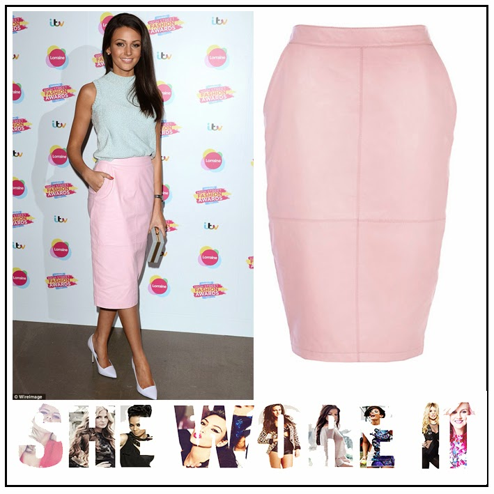 Coronation Street, High Waisted, Leather, Leather Skirt, Light Pink, Michelle Keegan, Panels, Pencil Skirt, Pockets, River Island, Seam Detail, Skirt, Knitted, Tank Top, Court Shoes, Light Purple, Turtle Neck,