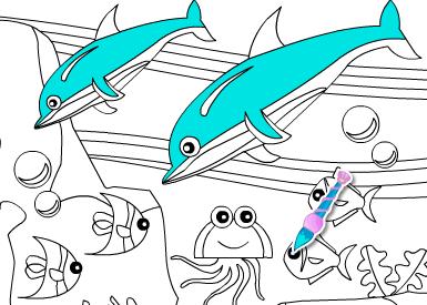 Game tô màu cá heo, chơi game to mau online cực hay