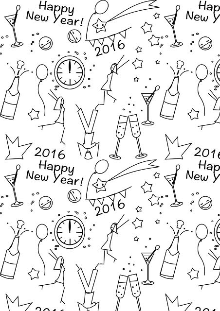 New Year Coloring Paper