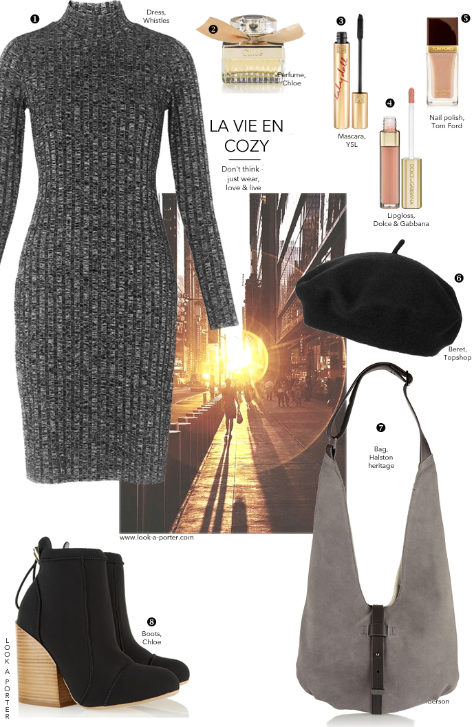 Cosy and casual outfit idea for weekend - just a sweater dress and a pair of booties. Via look-a-porter.com, style & fashion blog / outfit inspiration daily