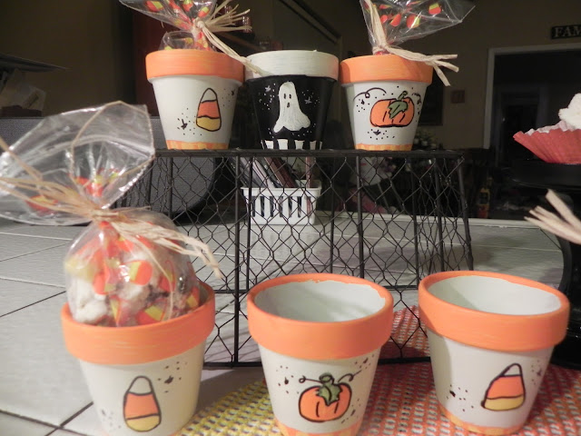 candy corn fall treat pots