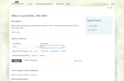 Ohio birth records genealogy