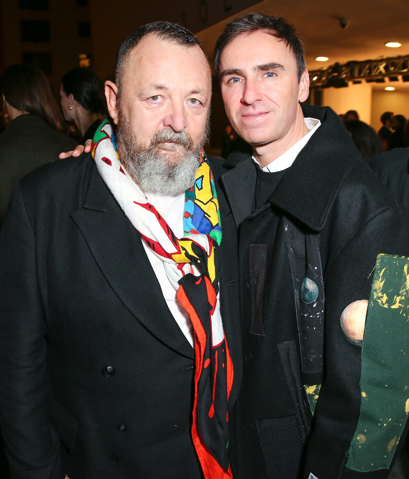Michel Gaubert and Raf Simons in Raf Simons Sterling Ruby Fall Winter 2014 patchwork coat - After Hours at the Guggenheim With The xx and Dior