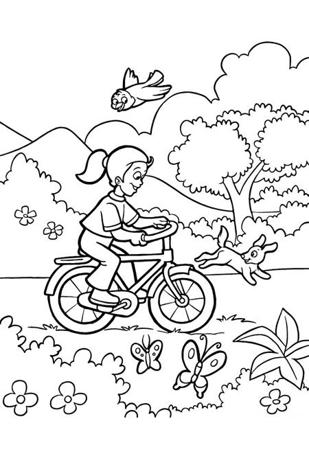 صورة بنت ترتدي دراجة هوائية وتقودها بين الزرع للتلوين