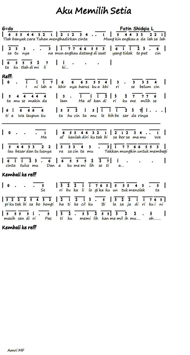 ... not angka, balok, piano, chord guitare, lyric lagu, mp3, video