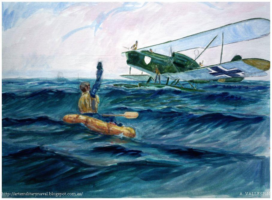 Pinura hans joachim Marseille piloto a la deriva en El Canal