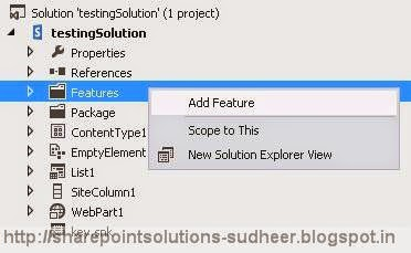 Solution Explorer to add SharePoint Feature
