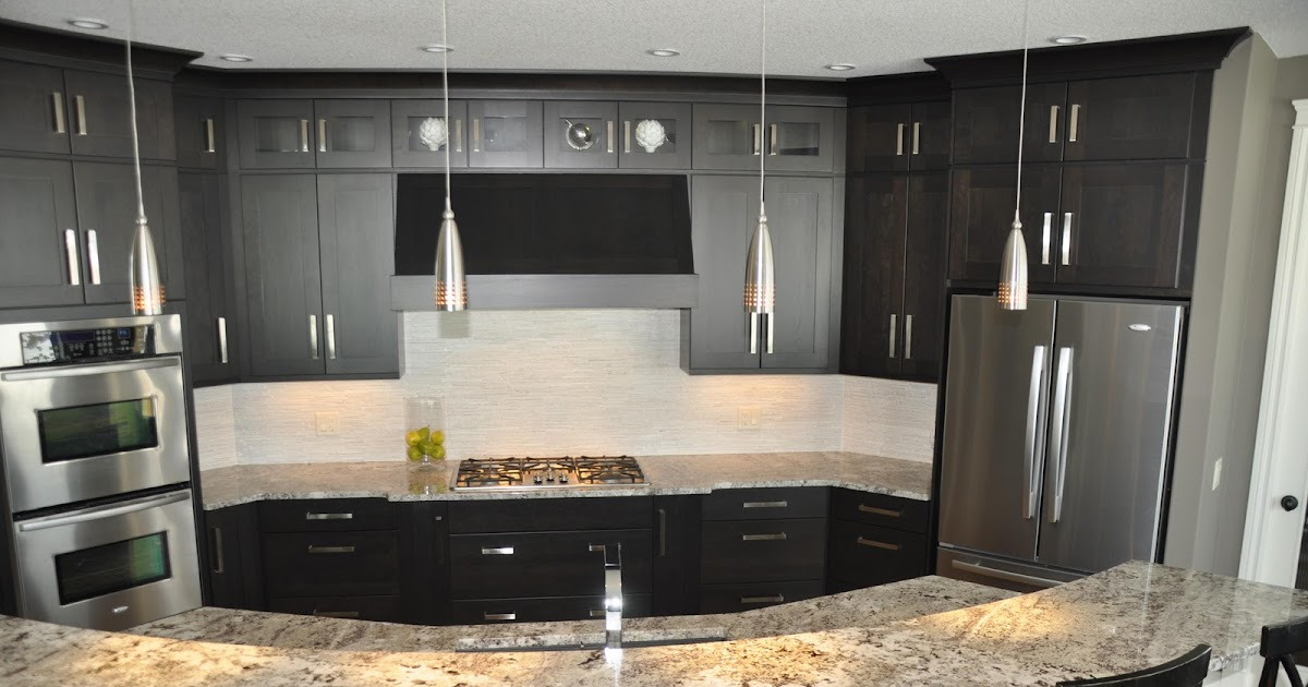 Remodelaholic fabulous kitchen design with black for Black cabinet kitchen designs