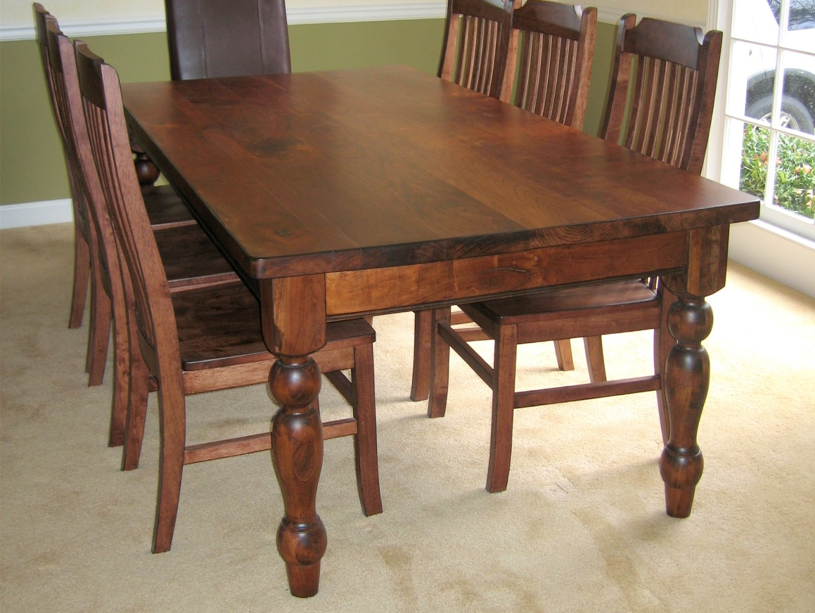 Solid Cherry Dining Room Table Real Wood Kitchen Table Classic Solid Brown Glossy Wooden Kitchen