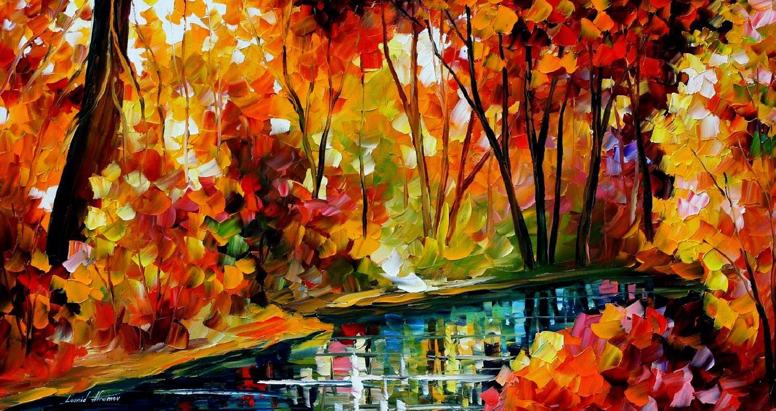 autumn fall painting wallpaper leonid afremov stream of autumn