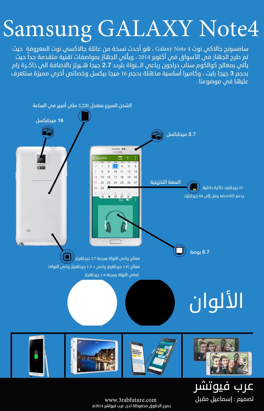انفوجرافيك : مواصفات ومميزات وأسعار جالاكسي نوت Samsung Galaxy Note 4