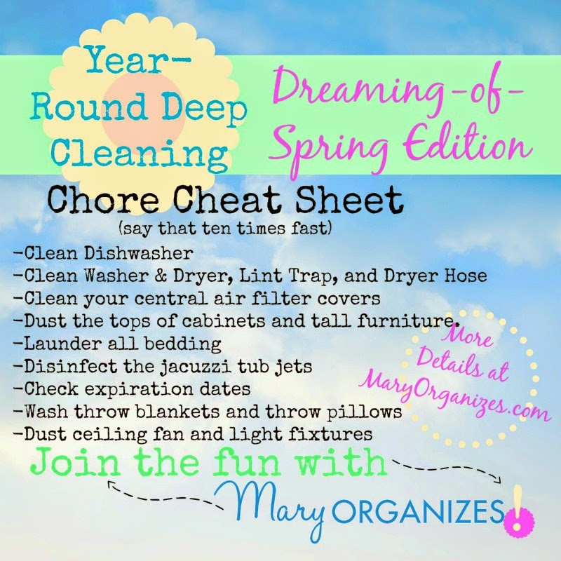Year Round Spring Cleaning Chore Cheat Sheet ::OrganizingMadeFun.com